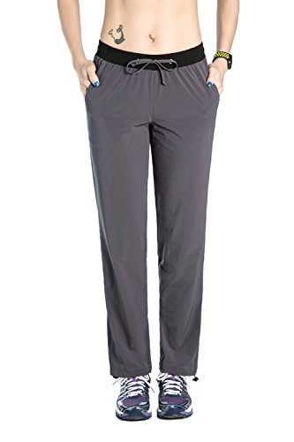 (Unitop Women's Quick Dry Cargo Hiking Pants with Drawstring Gray M/30 Inseam)