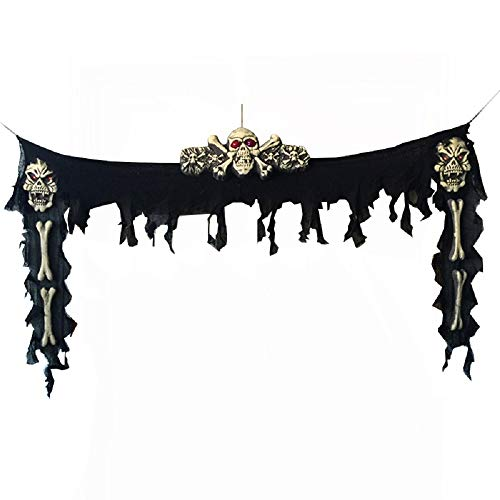 Wide Door Curtain with Skull LED Light for Haunted House Escape Horror Props Halloween Decorations - 74 inches- Black]()