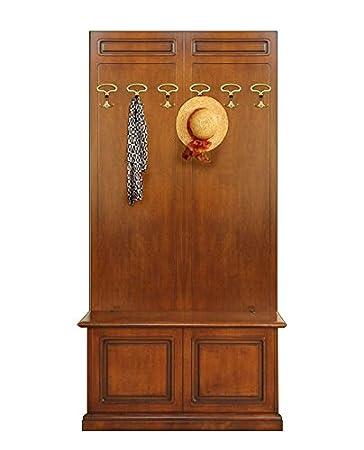 Arteferretto Composizione di mobili da Ingresso: 2 Pannelli Appendiabiti  attaccapanni con 3 Ganci ciascuno + cassapanca a ribalta Abbinata. Made in  ...