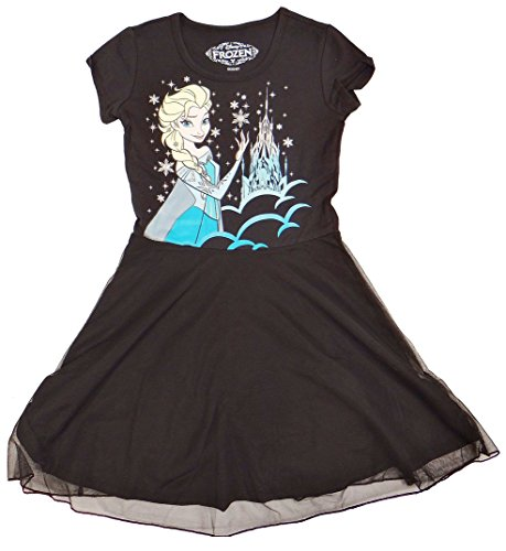 Disney Frozen Queen Elsa Girls Black Tulle Dress   XS -