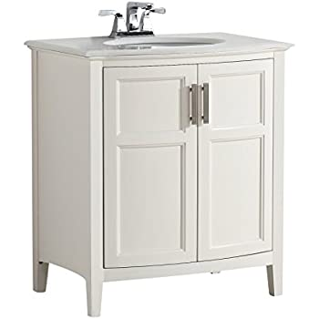 Simpli Home Winston 30  Bath Vanity Rounded Front with Quartz Marble Top   Soft WhiteFairmont Designs 1502 V30 Framingham 30  Vanity   Polar White  . 30 Bathroom Vanity With Top. Home Design Ideas