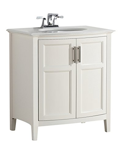 "Simpli Home Winston 30"" Bath Vanity Rounded Front with Quart"