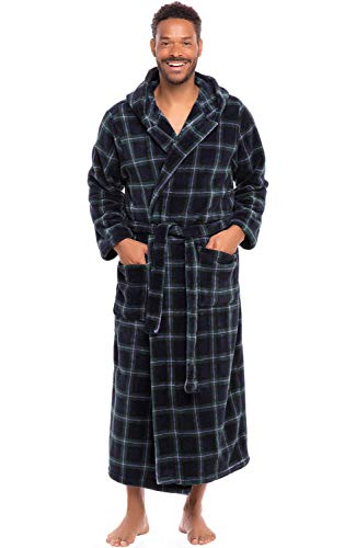 (Alexander Del Rossa Men's Warm Fleece Robe with Hood, Big and Tall Bathrobe, Large XL Blue and Green Plaid (A0125P23XL) )