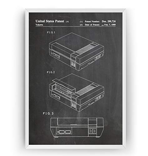 NES Patent Print - Gamer Gaming Poster Gift Vintage Blueprint Retro Girls Boys Video Games Room Wall Art Bedroom Original Decor Merchandise Classic Old Antique - Frame Not Included