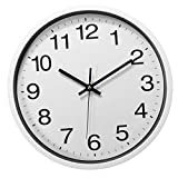 12 Inch Silent Sweep Non-Ticking Wall Clock For Office Home Fashion Decor - Electronic Accessories & Gadgets Alarm Clocks - (White) - 1 x Photo Frame