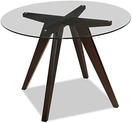 Uptown Club Caleope Collection Contemporary Round Glass Top Dining Room Table