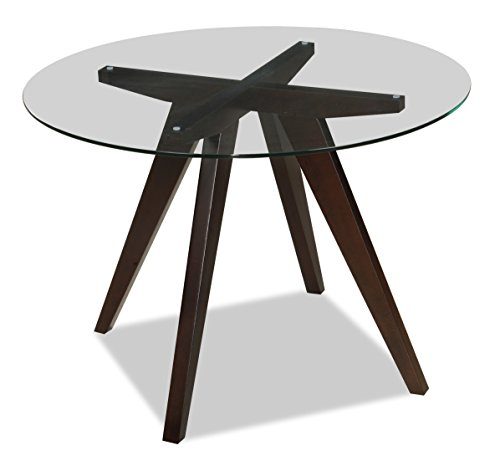 "Uptown Club Caleope Collection Contemporary Round Glass Top Dining Room Table, 41.3""L x 41.3"" W x 29.5"" H, Dark Walnut - The Caleope Collection Circular Round Glass Table Measures 29.5"" H x 41.3"" L x 41.3"" W and Weighs 75 Lbs. Comfortably Seat 4 Around This Brilliantly Crafted Dining Table Featuring A High Quality Innovative Design. Standing On 4 Solid Wood Legs and Topped With a Round Tempered Glass Table Top, This Elegant Dining Table Is A Versatile Thing of Beauty. - kitchen-dining-room-furniture, kitchen-dining-room, kitchen-dining-room-tables - 41mqhbAWcfL -"