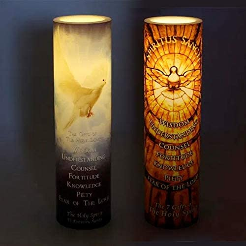 2 Pack LED Flameless Devotional Candles with 6-Hour Timer The Holy Spirit