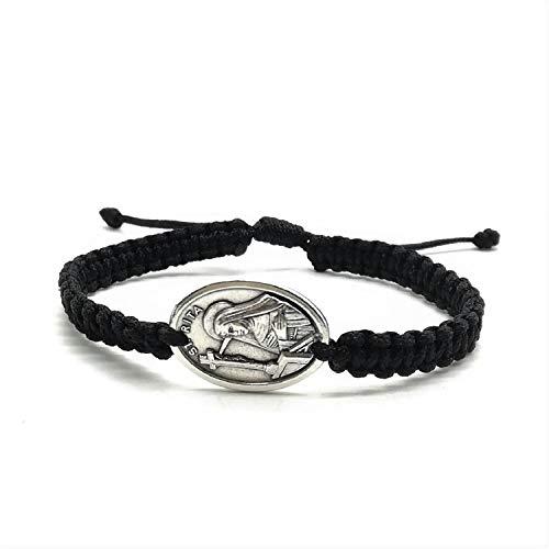 MedjugorjeStoneGifts St Rita Medal Bracelet, Patron Saint Desperate Cases, Men Women Healing Survivor Catholic Gift (Black) (Prayer To St Rita Of The Impossible)