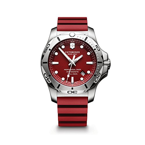 Victorinox Swiss Army Men's I.N.O.X. Stainless Steel Swiss-Quartz Diving Watch with Rubber Strap, red, 22 (Model: 241736.1) ()