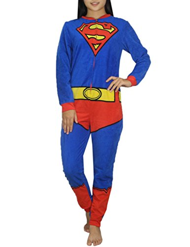 Womens DC COMICS SUPERGIRL One-Piece Polar Fleece Romper Jumpsuit L Blue