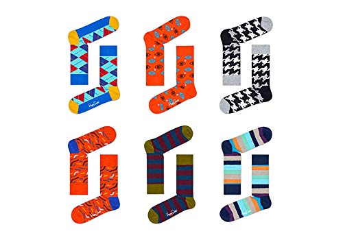 Happy Socks 6 PK Mens Sock Set, Calcetines para Hombre, Multicolor (Multicoloured)