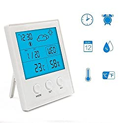 Digital Hygrometer Thermometer, JTONG Portable Blue Backlight Indoor Humidity Gauge Monitor with Humidity Gauge Temperature Meter, large LED display shows Alarm Clock, Date, Weather Forecast