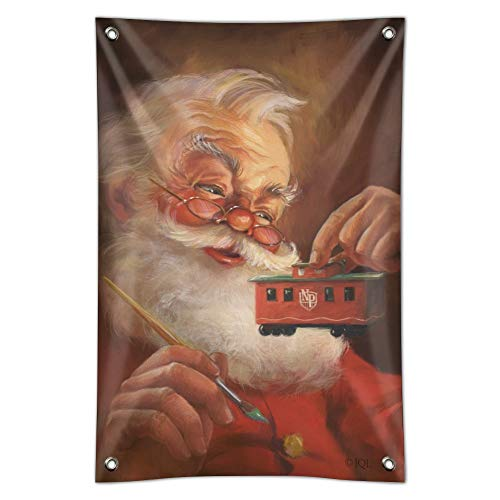 - GRAPHICS & MORE Christmas Holiday Santa Painting Toy Train Caboose Home Business Office Sign - Vinyl Banner - 22
