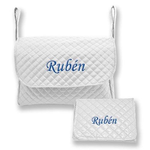 Mi Pipo - Set bolso y cambiador bebé personalizados blanco, color de bordado: azul marino