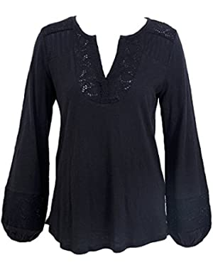 Women's Black Embroidered Bib Knit Top
