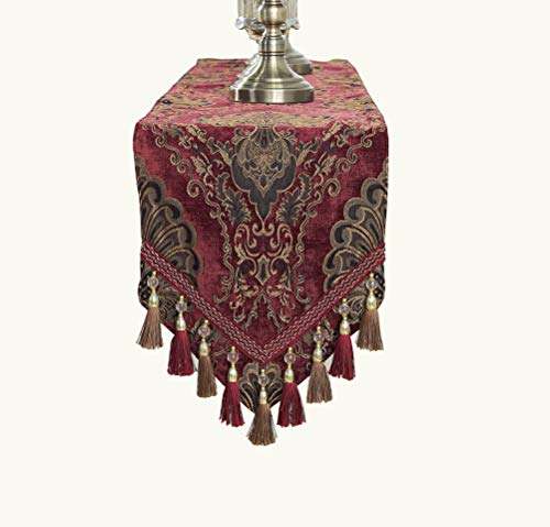 Yoovi Modern Elegant Jacquard Fabric Floral Table Runner and Dresser Scarf with Multi Tassels Living Room Bedroom Home Decoration (Maroon, 13