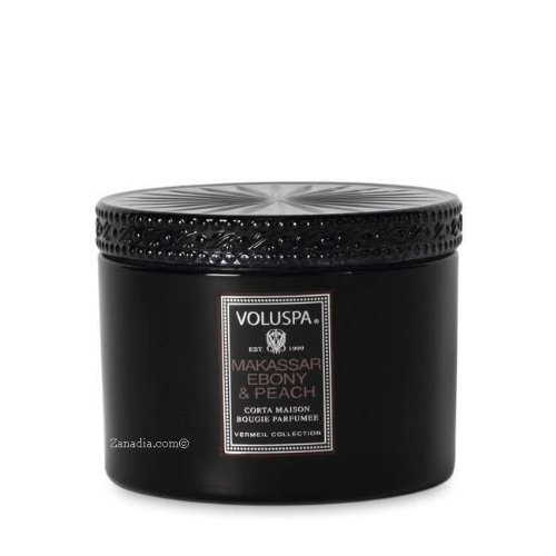 Makassar Ebony Peach - Voluspa Makassar Ebony and Peach Corta Maison Glass Candle With Lid, 11 Ounce