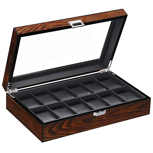 BEWISHOME Watch Box Organizer 12 Watch Case for Men Luxury Watch Display Case with Large Glass Window, Ultra Smooth Faux Leather Interior, Brown SSH12Y