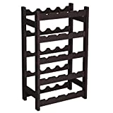 SONGMICS Wood 20-Bottle Wine Display Rack Free Standing Bottles Storage...