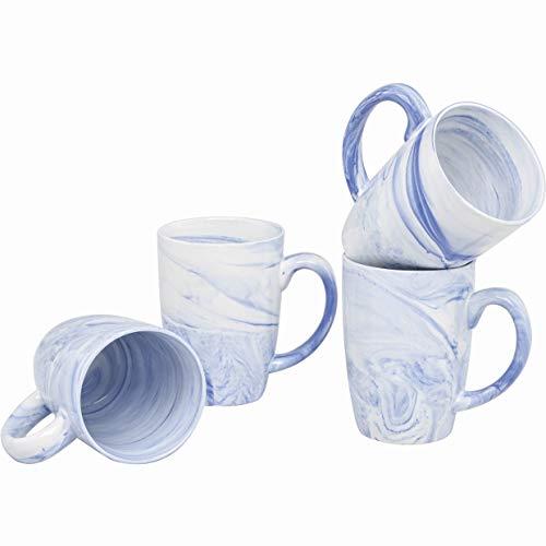 - Culver 16-Ounce Palermo Ceramic Mug Set of 4 (White and Blue Marbleized)