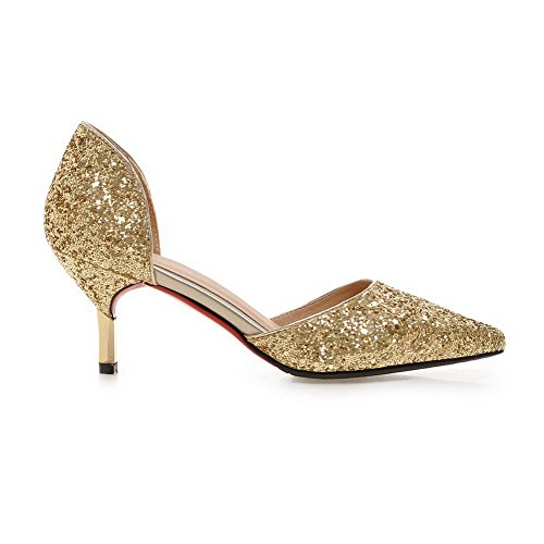Toe Cut MMS04170 Womens UK Shape 1TO9 5 Low Cone 4 Gold Pointed Uppers Heel Sequin Sandals wXdq07C