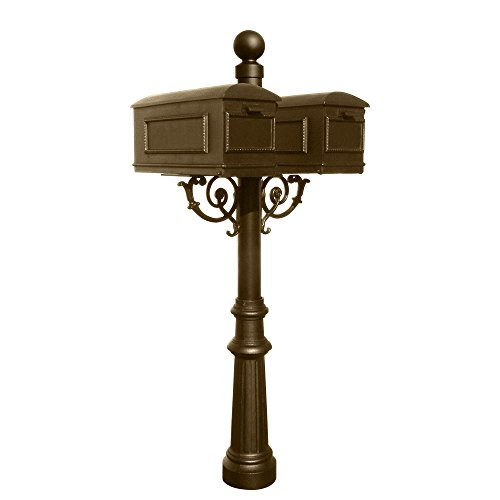 Qualarc LM-TWIN-804-BRZ Lewiston Cast Aluminum Mount System with Post, 2 Mailboxes, Support Braces, Fluted Base and Ball Finial, Ships in 2 Boxes, Bronze