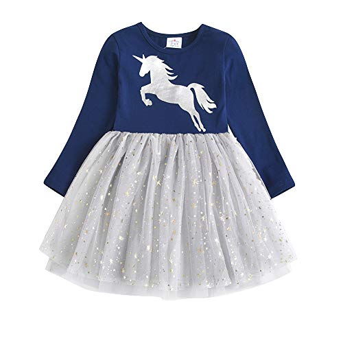 DXTON Toddler Baby Girl Long Sleeve Dresses Flower Cotton Party Dress for 2-8T