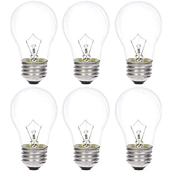 Simba Lighting Appliance Light Bulb A15 25W (6 Pack) Incandescent Mini-Standard Shape with E26 Standard Medium Screw Base for Refrigerators, Ovens, 110V 120V 130V, Dimmable, 2700K Warm White