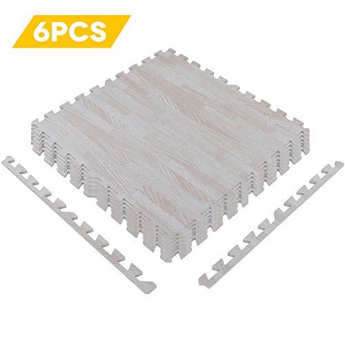 Fit Tiles Floor (Water-chestnut Puzzle Exercise Mat with Eva Foam Interlocking Tiles Wood Grain Foam Mat Floor Tiles Fit Home and Gym Equipment Protective Flooring 6 Pcs 24.02'' x 24.03'')