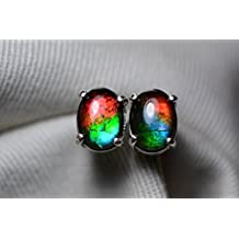 8x6 mm Rainbow Oval Cabochon Canadian Ammolite Stud Earrings Sterling Silver Pair #19