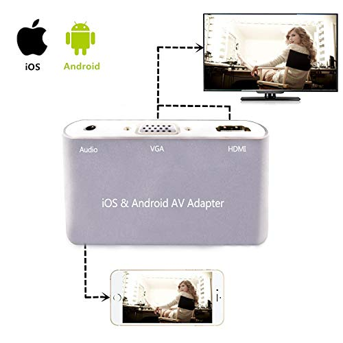 HDMI VGA Audio Adapter Compatible with Andriod/iOS Samsung/LG/Google/iPhone/iPad to Projector Monitor TV - Silver