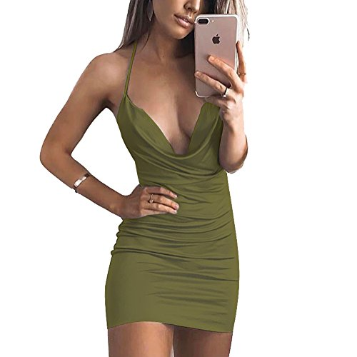(VANCOL Women's Sexy Deep V-Neck Halter Backless Slit Mini Party Club Dress (M, Army Green2))