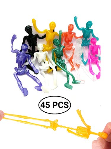 UpBrands 45 Pack Stretchy Skeleton 4 inches Bulk Set 9 Glitter Colors, Kit for Birthday, Halloween Party Favors for Kids, Goodie Bags, Easter Egg Basket, Pinata Filler, Small Toys Classroom Prizes