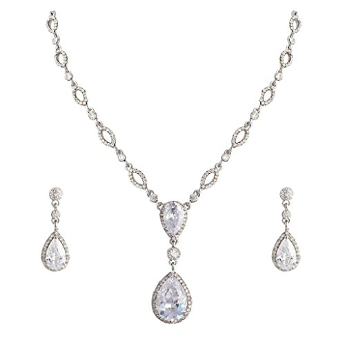 EVER FAITH® Bridal Movie Inspired Clear Zircon Crystal Teardrop Necklace Earrings - Clear Crystal Drop Necklace