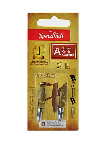 Speedball A Style A-0/A-1 Lettering And Drawing Square Pen Nibs (6 Pack) by Speedball
