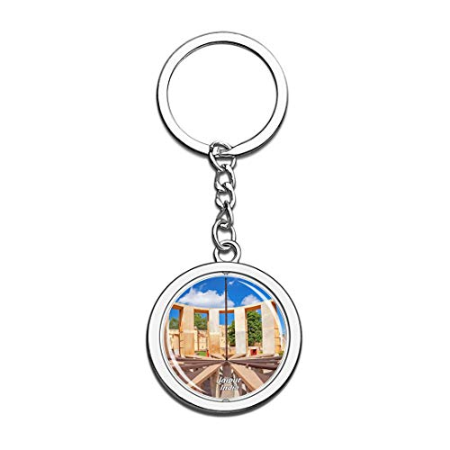 India Keychain Jantar Mantar Jaipur Key Chain 3D Crystal Spinning Round Stainless Steel Keychains Travel City Souvenirs Key Chain Ring ()