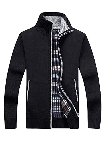 (GEEK LIGHTING Men's Full Zip Knitted Cardigan Sweaters Slim Fit Casual Jacket with Pockets (Black, US XL/Label 3XL))