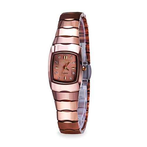 BINLUN Women's Rose Red Vintage Tungsten Steel Watch with Rectangle Case-Champagne