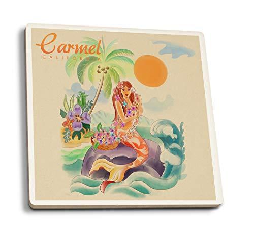 Lantern Press Carmel, California - Tropical Mermaid (Set of 4 Ceramic Coasters - Cork-Backed, Absorbent)