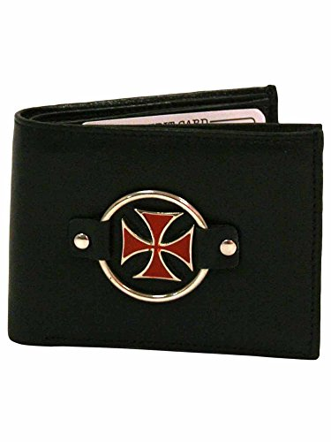 Cross Emblem Iron (Black Leather Wallet With Red Iron Cross Emblem)
