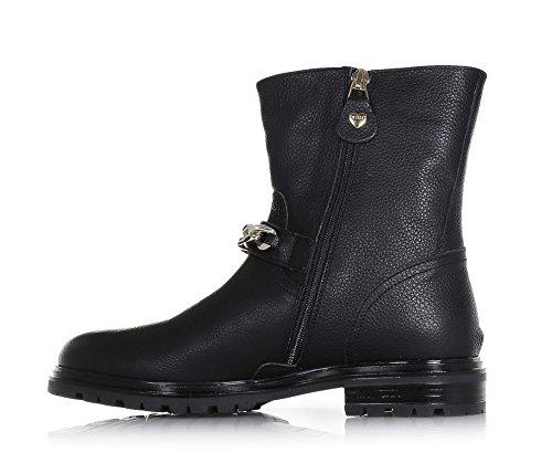 TWIN-SET - Schwarze Stiefelette aus Leder, einzigartiges Design typisch für hochwertiges Made in Italy, Mädchen-31
