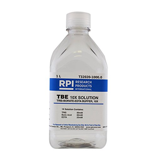 RPI TBE 10X Buffer Solution [TRIS-borate-EDTA 10X Solution], 1 Liter, Liquid Concentrated Buffer for Gel Electrophoresis