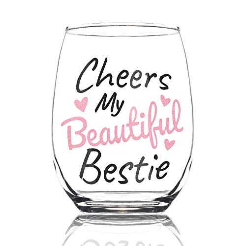 Cheers My Beautiful Bestie 15oz Stemless Wine Glass - BFF Gifts - Friendship Gifts for Women - Bestfriend Gifts for Her - Best Friend Wine Glass - Cute Wine Glass Gifts for Friends Female (Cute Gifts For My Best Friend)