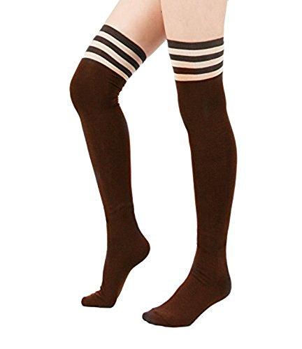 Zando Women Stripe Tube Dresses Over the Knee Thigh High Stockings Cosplay Socks Brown -