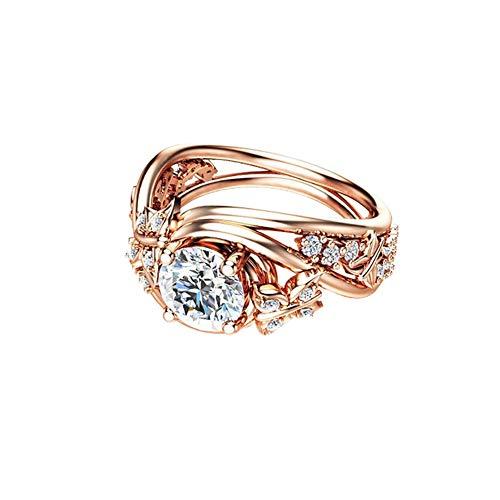 Fashion Rhinestone Flower Ring (AkoMatial Fashion Rings, Elegant Hollow Rhinestones Butterfly Flower Jewelry Women Engagement Bridal Ring - Rose Gold US 6)
