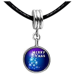 Chicforest Silver Plated merry XMAS christmas tree Photo Blue Zircon Crystal December Birthstone Flower dangle Charm Beads Fits Pandora Charms