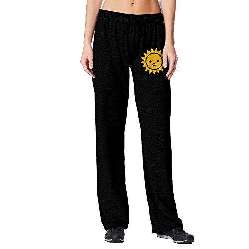 [BakeOnion Women's Emoji Sunshine Face Emoticon Running Sweatpants M Black] (Scott Hall Costume)