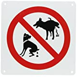 "SmartSign Plastic Sign, Legend""No Dog Pooping and No Dog Peeing"" with Graphic, 10"" Square, Black/Red on White"