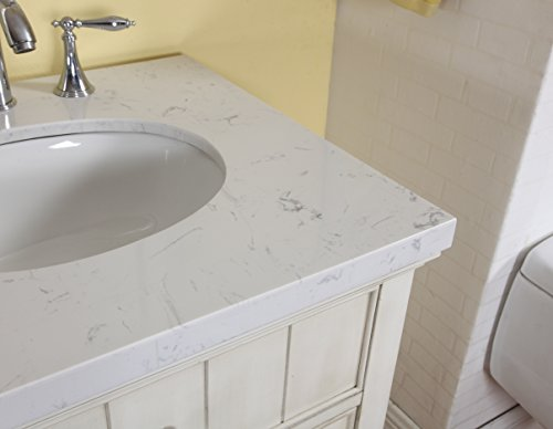 Belmont Home Bh Hanover Bathroom Vanity In Distressed Antique Finish With Gray And White Stone